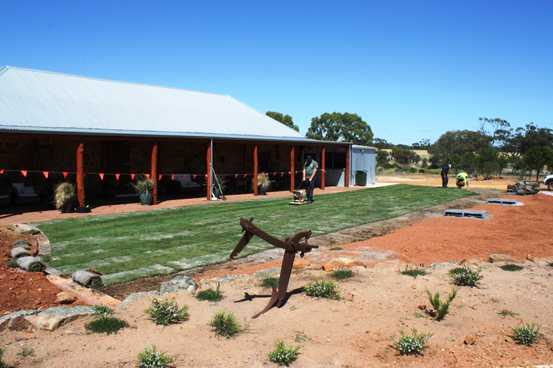 laying lawn at Slater Homestead Goomalling